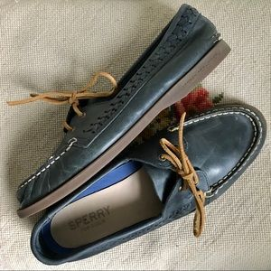Sperry Blue Leather Braided Loafers 10